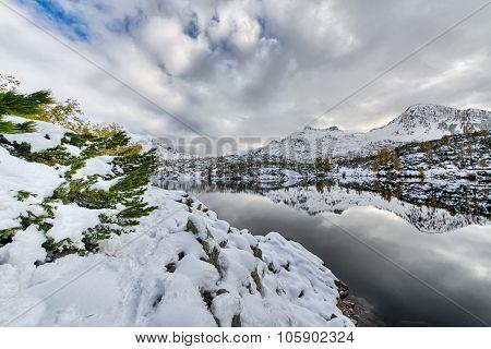 Walking Beside Alpine Lake With Snow