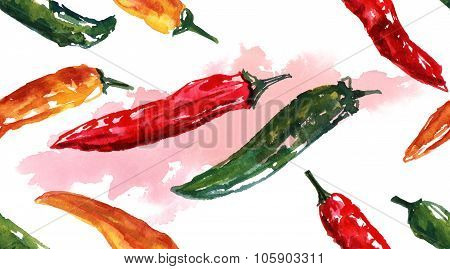 Watercolor chilli peppers seamless background pattern
