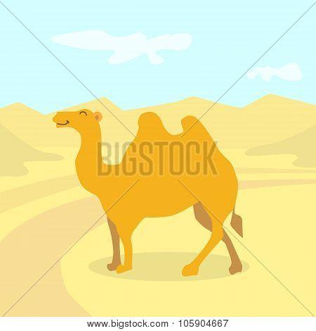 Cartoon Camel Desert Colorful Flat Retro