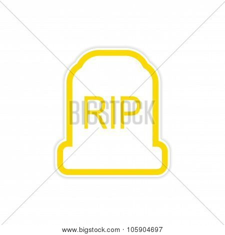 sticker bright headstone on a white background