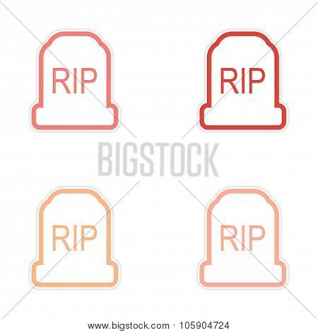 assembly sticker bright headstone on a white background