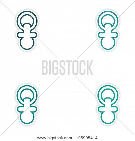 Set of stickers nipple toddler on white background