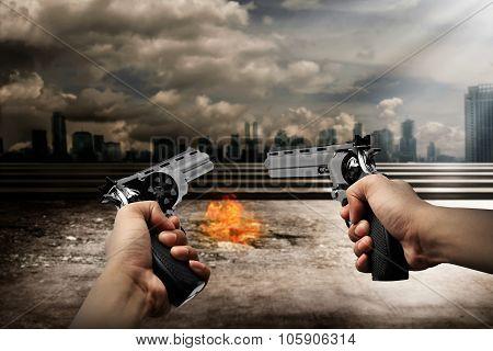 Man Aiming  Two Gun To Burn City