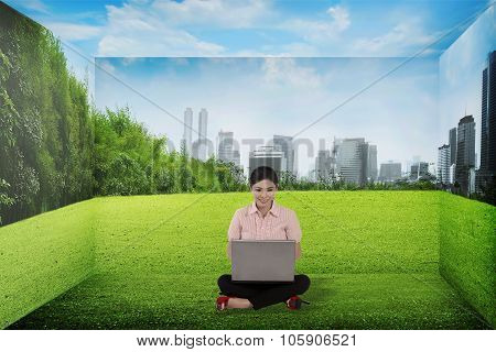 Business Person Working With Laptop At The Room