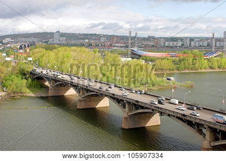 City Krasnoyarsk. View On The River Yenisei And Kommunalnyy Bridge