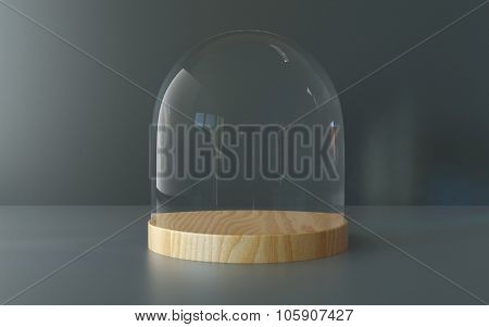 Glass dome with wooden tray on dark background