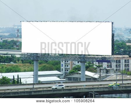 Blank Billboard On Express Road For Advertisement, With Path.