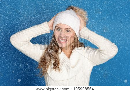 Happy Woman In Winter Clothes With Snow