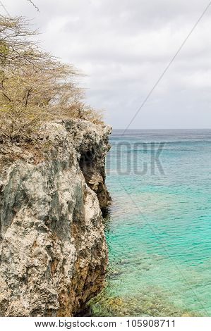 Rocky Cliff Overlooking Aqua Sea