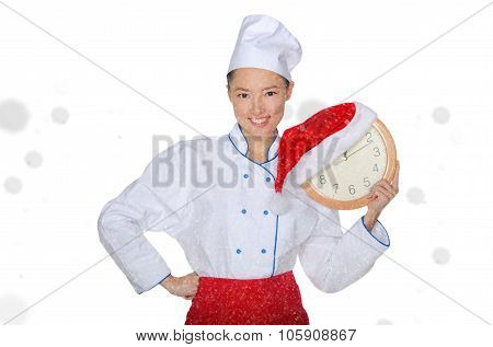 Asian Chef With Clock And Christmas Hat