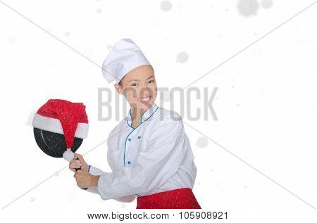 Fun Asian Chef With Frying Pan And Christmas Hat