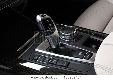 Car Interior. Gear Shifting Lever