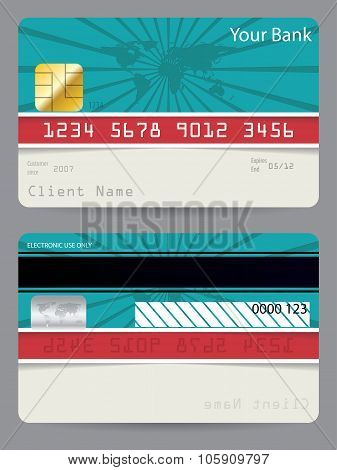 Credit Card In Turquoise And Red With Bursting World Map