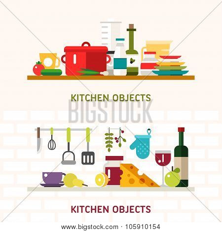 Kitchen Appliances And Objects. Cookware, Food, Fruits, Vegetables, Bottles. Vector Illustration In