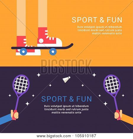Sport And Fun. Skateboard And Badminton. Vector Illustration In Flat Design Style For Web Banners Or
