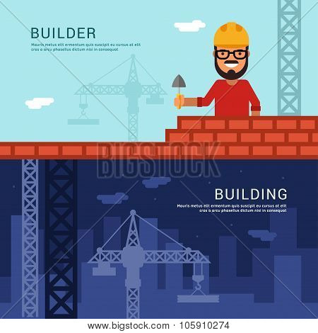 Builder And Building. Vector Illustration In Flat Design Style For Web Banners Or Promotional Materi