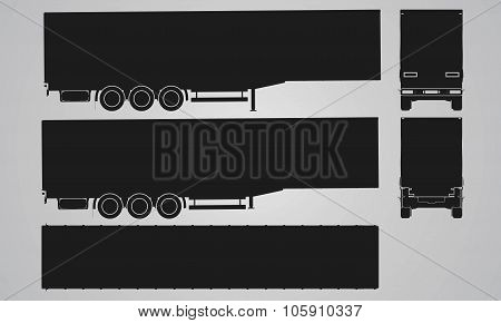 Front, back, top and side semi trailer for truck projection