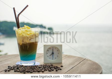Coffee Frappe In The Morning With Beautiful Sea In Background