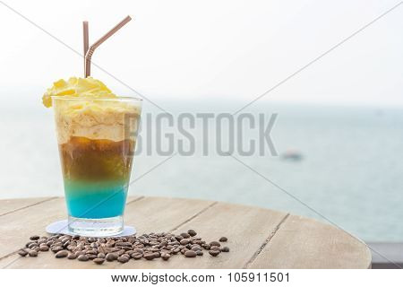 Coffee Frappe With Beautiful Sea In Background