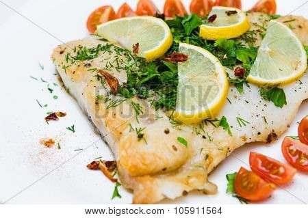 Grilled Fish With Vegetables And Cream Sauce