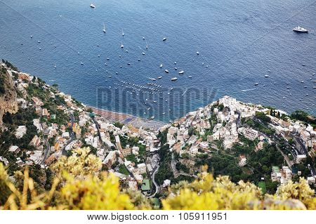 Positano Panoramic View From Above, Amalfi Coast, Italy