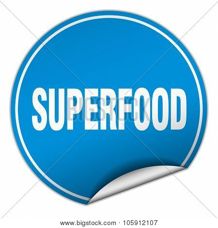 Superfood Round Blue Sticker Isolated On White