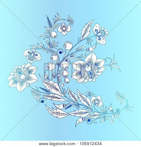 Stock Vector Orient  White Flower On The Blue Backgorund .