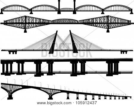 illustration with bridges collection isolated on white background