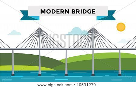 Modern bridge vector illustration