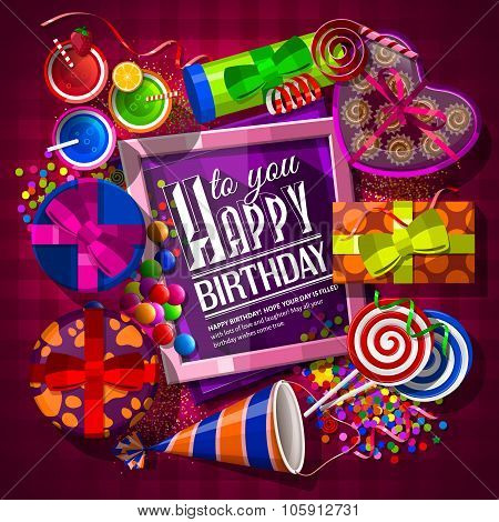 Birthday card with gift boxes, cocktails, lollipops, box of chocolates, party hat and confetti. Vect