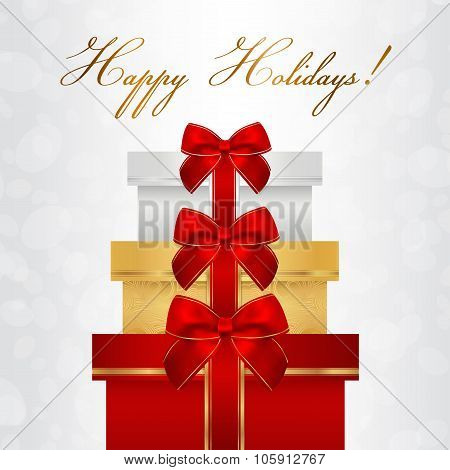 Holiday card, Christmas card, Birthday card, Gift card (greeting card) template with presents