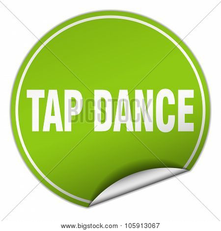 Tap Dance Round Green Sticker Isolated On White