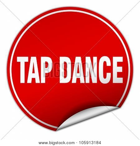 Tap Dance Round Red Sticker Isolated On White