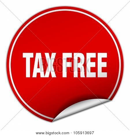 Tax Free Round Red Sticker Isolated On White