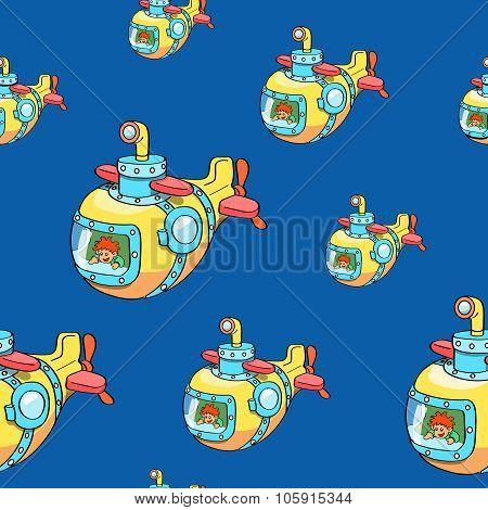 yellow submarine seamless hand drawn sea life pattern