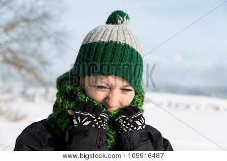 Young Woman Is Freezing On The Walk