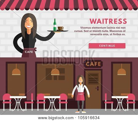 Profession Concept. Waitress. Flat Design Concepts For Web Banners And Promotional Materials