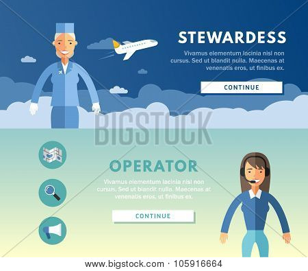 Profession Concept. Stewardess And Operator. Flat Design Concepts For Web Banners And Promotional Ma