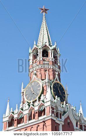 Spasskaya Tower In Moscow Kremlin, Russia