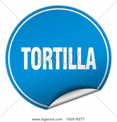 Tortilla Round Blue Sticker Isolated On White