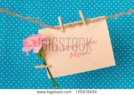 Greeting Card With Pink Carnation