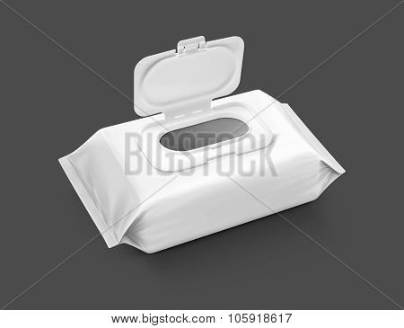 blank packaging paper wipes pouch isolated on gray background