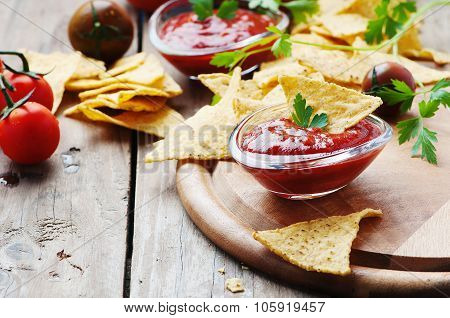 Concept Of Mexican Food With Spicy Salsa