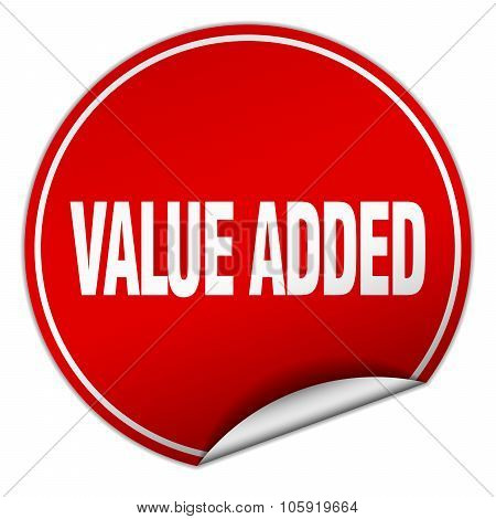 Value Added Round Red Sticker Isolated On White