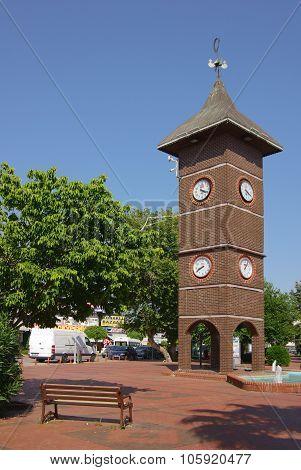 Konakli, Turkey - June 16, 2014: Tower Clock On The Central Square