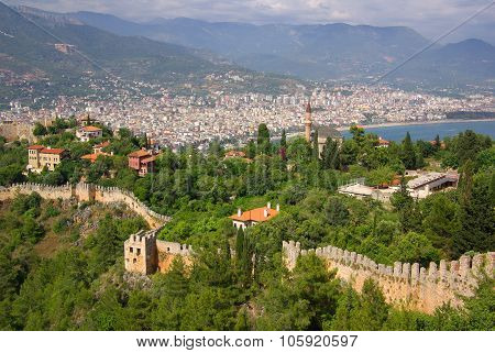 Alanya, Turkey - June, 2014: Castle Ichkale In Alanya At Summer
