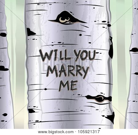Birch tree card with carved text will you marry me