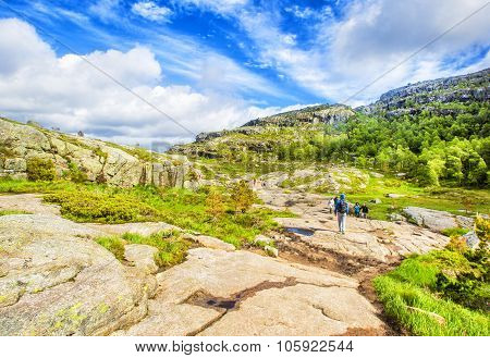 Hiking trail and alpine landscape of the Preikestolen and Lysefjord area in Rogaland, Norway