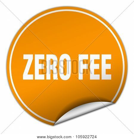 Zero Fee Round Orange Sticker Isolated On White