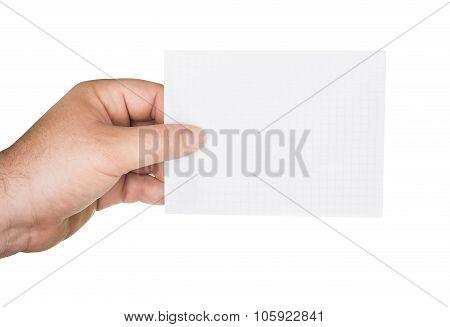 Mans Hand Holding A Paper Sheet